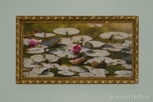 """Monet's Pond"" framed in antique gold"